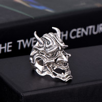 Skull With Horns Big Adjustable Rotating Bikers Rings