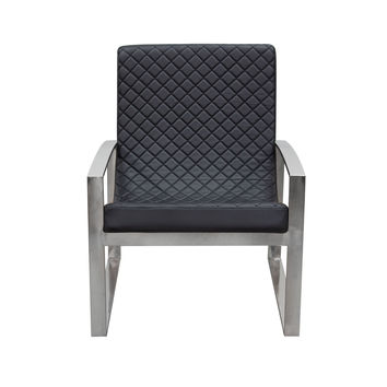 Aristocrat Accent Chair with Diamond Tufted Quilt and Stainless Steel Frame by Diamond Sofa - Black