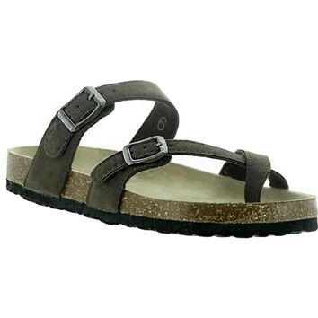 Buckle Sandal, Brown Nubuck