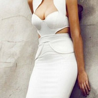 White Halter Cut-Out Bodycon Dress