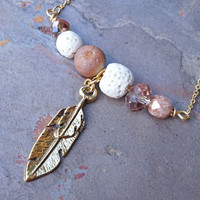 Peach and Gold Aromatherapy Necklace Essential Oil Diffuser Necklace