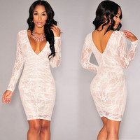 White Lace Bodycon Long Sleeves Dress