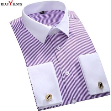 Wedding Dress Shirt French Cuff Mens Long Sleeve Men Shirt Slim Fit Mens Tuxedo Shirt Striped Men Casual Shirts Plus Size M-6XL