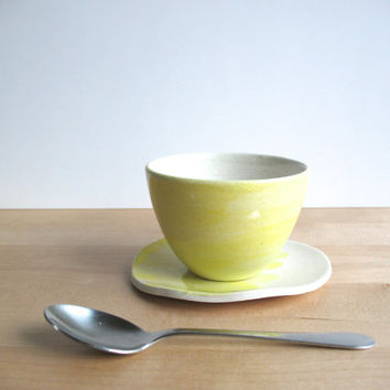 SALE Coffee cup and saucer set Wheel thrown pottery  Pottery cup Ceramic Light Yellow cup and plate - ready to ship