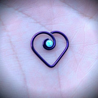 16g Niobium Daith Heart With Opal - Handmade - Price Per 1