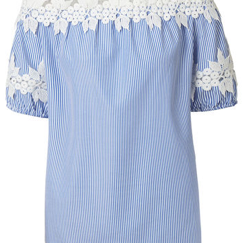 LE3NO Womens Floral Crochet Short Sleeve Striped Off Shoulder Top