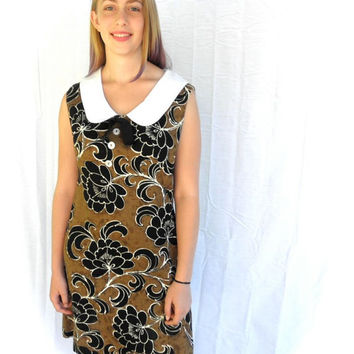 Vintage Barkcloth 1960s Dress // DANIELLE California Sleeveless Shift Dress // Nouvelle Fleur Dress // Mod Brown and White