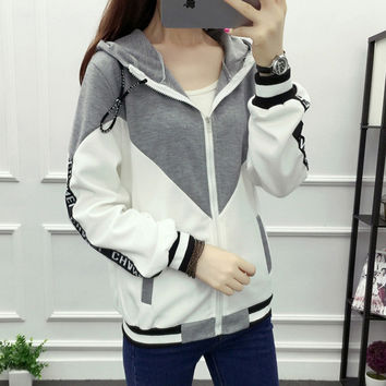Long Sleeve Bomber Jacket Outwear Korean Alphabet Printed Casual Jackets Hooded Baseball Sportswear