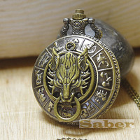Cloud Wolf-Retro Carve 12 Constellation Zodiac Pocket Watch Necklace Y042