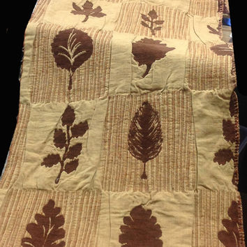 Brown Chenille Leaves Designer Fabric - Patchwork Chenille Leaf Assortment