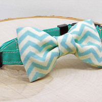 Chevron Bow Tie with Teal Collar for Cats or Small Dogs