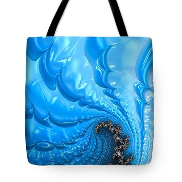 Abstract Blue Winter Fractal Tote Bag