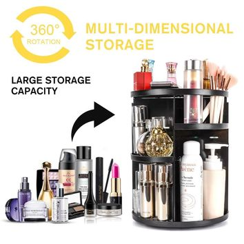 360 Degree Rotating Makeup Organizer for Birthday Gifts - Extra Large Capacity Adjustable Multifunctional Cosmetic Storage Box - Fit for Skin Care, Makeup Brushes, Makeup Sponges