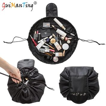 High Capacity Women Drawstring Travel Portable Lazy Cosmetic Bags Polyester Mini Make Up Pouch Storage Luggage Organizer String