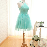 2014 Custom Made Unique Design Halter Neck Blue Tulle A Line Design With Handmade Flower Elegant Short Prom Dress Cheap Bridesmaid Dresses