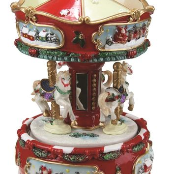 """6.25"""" Animated Musical Carousel with Canopy and 3-Horses Christmas Music Box"""
