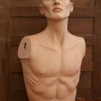 Vintage Table Top Male Mannequin Torso Bust With Head