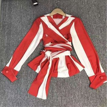 VONE05F8 lxunyi ladies tops and t shirtsfashion red white striped shirt Women Elegant v neck slim bandage tops long sleeve q3002