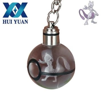 HUI YUAN Mewtwo Novelty Mini Portable  Engraving Round 3D Crystal Glass Ball LED KeychainKawaii Pokemon go  AT_89_9