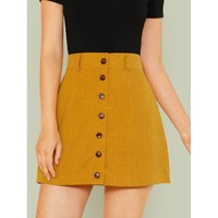 Wide Waistband Button Up Skirt