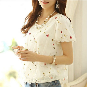 2014 summer new mesh lace short-sleeved women's shirt blouse chiffon shirt [9221270788]