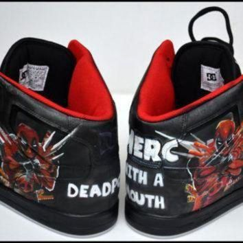 DCK7YE Custom Mens Shoes, Painted Shoes, Deadpool, Painted Hightops, Painted Nike, Custom Jor