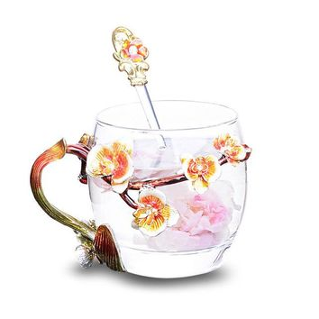 Enamel Glass Mugs with Peach Blossom
