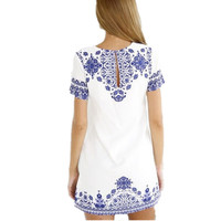 Summer Style Women Tshirt Dress 2017 Casual Sexy Vintage White Blue Porcelain Print Short Sleeve Bea