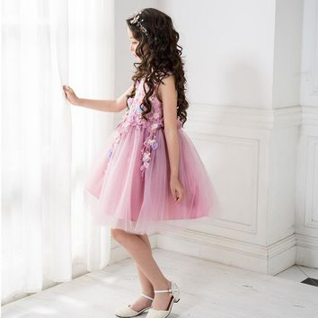 Purple girl party dress teenage 8 10 12 14Years children clothing sleeveless kids wedding costumes floral girls princess dress