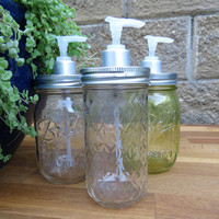 Plain transparent quilted Ball Mason jar soap or condiment dispenser handmade hand assembled in Sydney, Australia