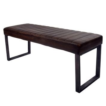 Jasper PU Leather Bench, Distressed Bronze
