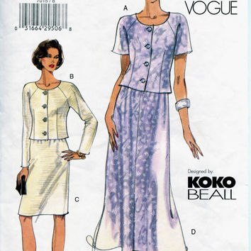 VOGUE SKIRT TOP Pattern Koko Beall Button Front Top Straight or Flared Skirt Very Easy Vogue 8887 2000s Womens Misses Petite Sewing Patterns