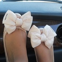bow, feet, flats, light pink, prada - image #143193 on Favim.com