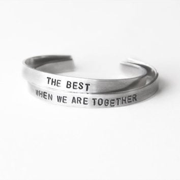 Best Friend Bracelets matching silver cuff bracelet with hand stamped message - Friend Gift Personalized