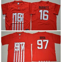 2016 New Red Ohio State Buckeyes Jerseys College 16 J T JT Barrett 23 Lebron James 33 Pete Johnson 45 Archie Griffin 97 Joey Bosa Football