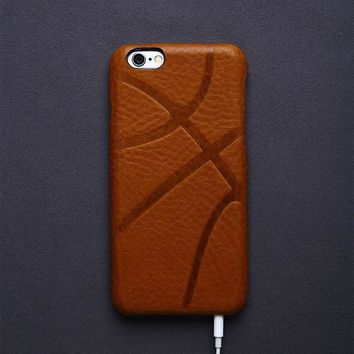 Luxury Retro Italian Leather Mobile Phone Case in Basketball Pattern for iPhone 6 6s 7 7 Plus