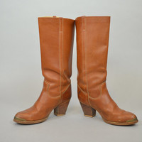 ZODIAC LEATHER vtg 80's boho western cowboy mid-calf BOOTS, size 8.5 39 6