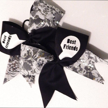 Super cute sparkly lace best friends cheer bows