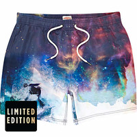 Blue cosmic surf print swim shorts - swim shorts - shorts - men