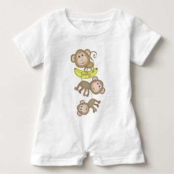Cute Custom Little Monkey Baby Romper