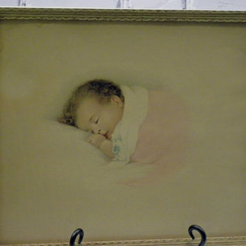 Vintage Framed Nursery Picture A little Dream of a baby sleeping 1930's  With NRA Stamp on back .