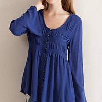 Button Down Baby Doll Blouse - Midnight
