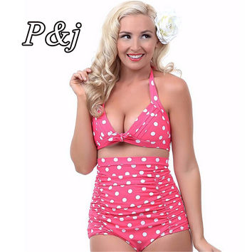 P&j Push up High Waist Swimsuit 4XL XXXL XXL big size Women Bathing Suit Padded  Bikini set Retro Beachwear Plus Size Swimwear
