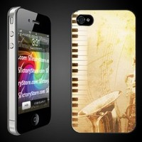 iPhone 4/4s Case - Music - Vintage Jazz - Clear Protective Hard Case