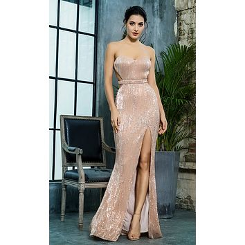 Lose Control Champagne Sequin Strapless Sweetheart Neck Cut Out Sides Backless High Slit Maxi Dress