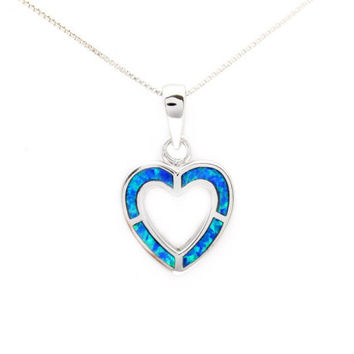 Opal necklace Sterling Silver open heart lab opal October birthstone birthday gift for her, Christmas gifts for her under 50 blue opal inlay
