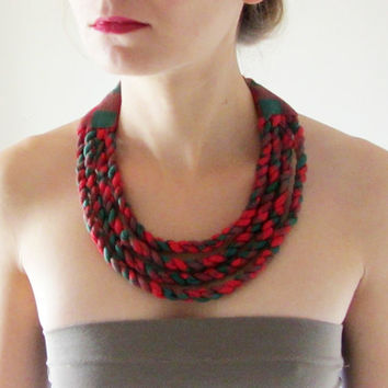 Tribal fabric necklace made from red and green gingham check cotton. African style statement bib, upcycled recycled repurposed, eco-friendly