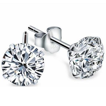 GenZ Sterling Silver Round Diamond CZ Studs Earrings