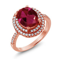 3.80 Ct Oval Red Created Ruby 18K Rose Gold Plated Silver Ring
