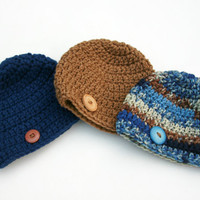 Baby boy hats blue brown set of three crochet newborn 0-3 month photo prop